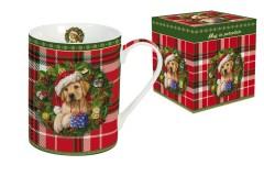 Кружка R2S Рождественский щенок 300мл (клетка)
