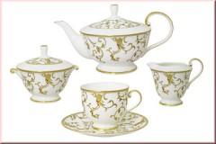Чайный сервиз Анатолия, Наруми, 17 предметов на 6 персон (белый с золотом