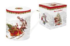 Кружка (белая) Дед Мороз в санях