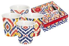 Набор из 4-х кружек д/эспрессо Икат в подарочной упаковке