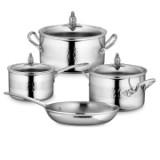 Набор посуды из 4-х предметов, нержавеющая сталь, стеклянная крышка с декорированной ручкой, серия Omegna, OMEGNA-4, RUFFONI, Италия