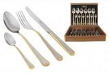 Набор столовых приборов 24 предмета на 6 персон Falperra Gold в деревянной коробке