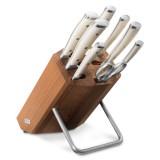 Набор из 6 - ти ножей с мусатом и ножницами на деревянной подставке, серия Ikon Cream White, WUESTHOF, Золинген, Германия