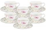 Набор 12 предметов Розовый танец: 6 чашек + 6 блюдец