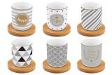 Набор: 6 чашек + 6 блюдец из бамбука для кофе Счастье в подарочной упаковке