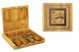Набор для сыра: деревянная коробка 20х19 см+4 ножа